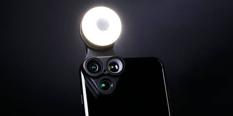 Instantly add 3 new lenses, an LED light, and a selfie mirror to your smartphone.