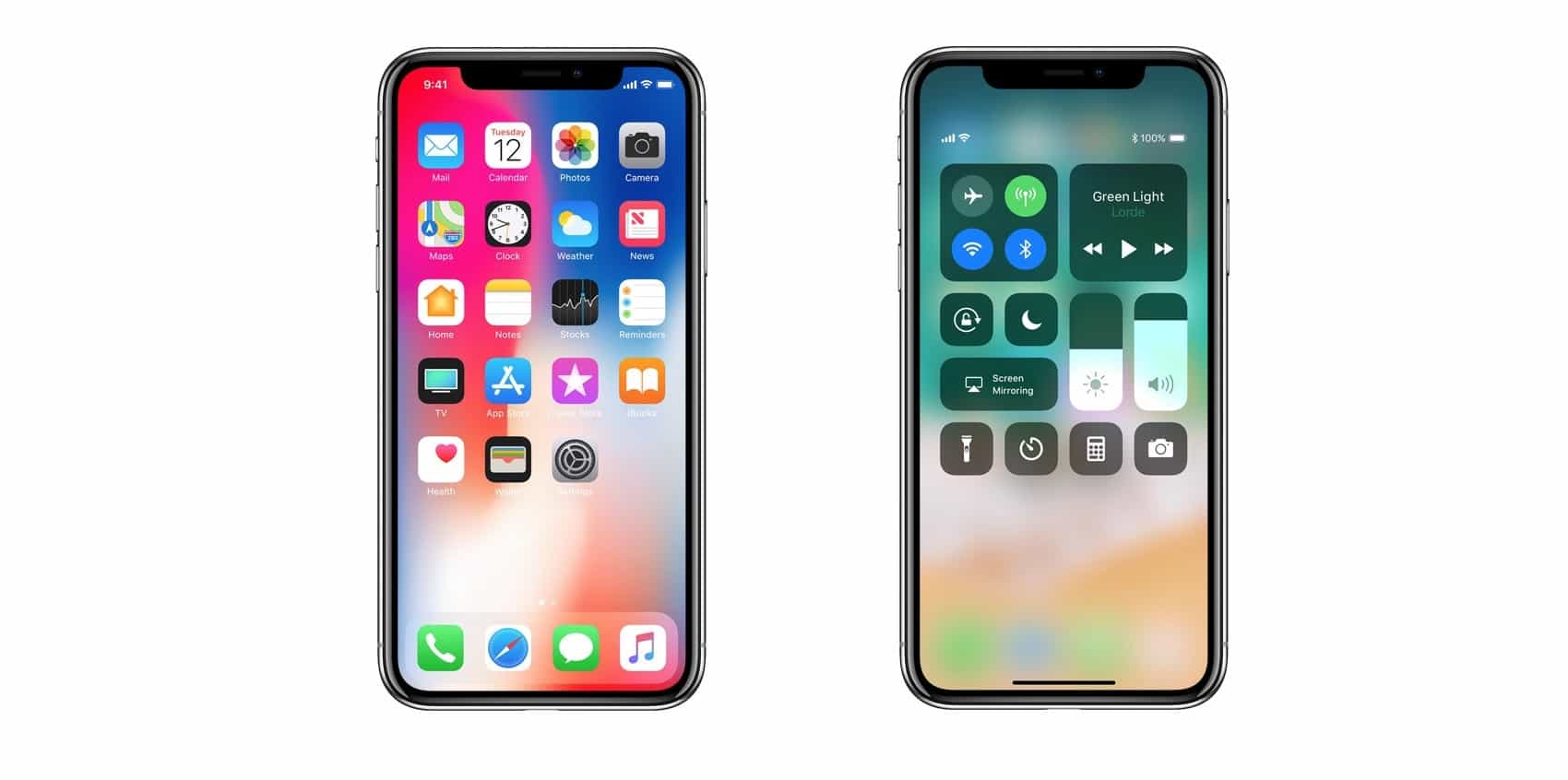 iPhone x battery percentage control center