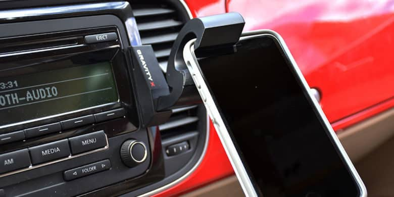 This cleverly designed car mount uses the weight of your phone or tablet to hold it in place.