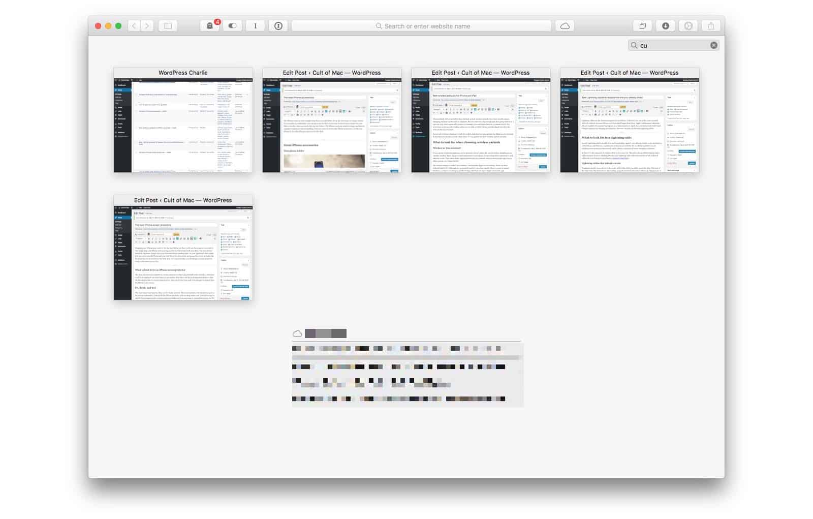 Typing filters all your open tabs, and shows only those which match.