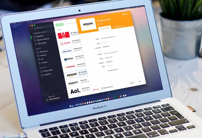 Dashlane's password manager on a MacBook Pro