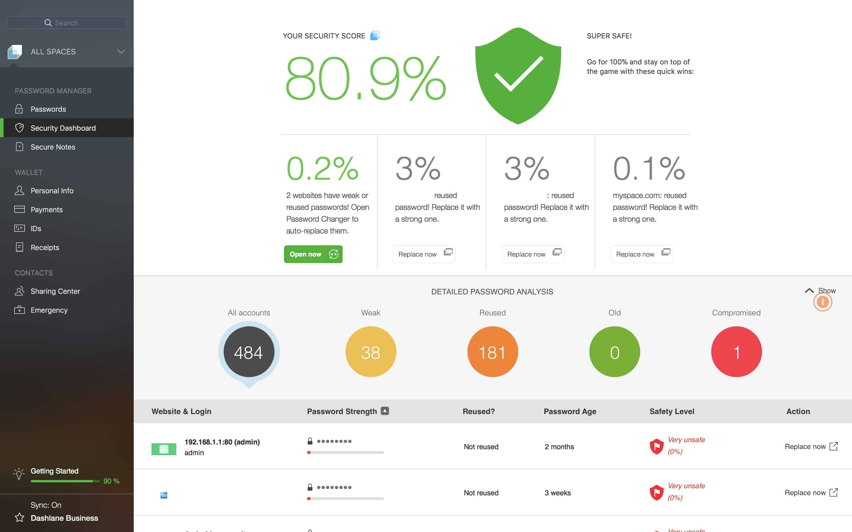 Dashlane Security Dashboard