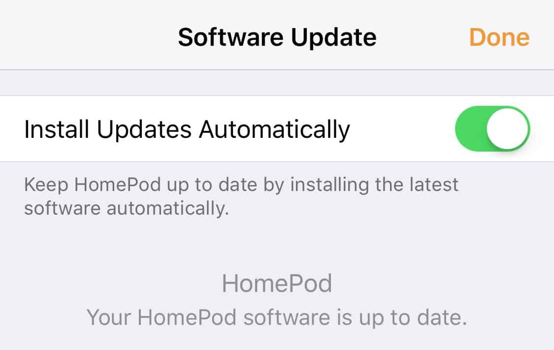 HomePod update interface