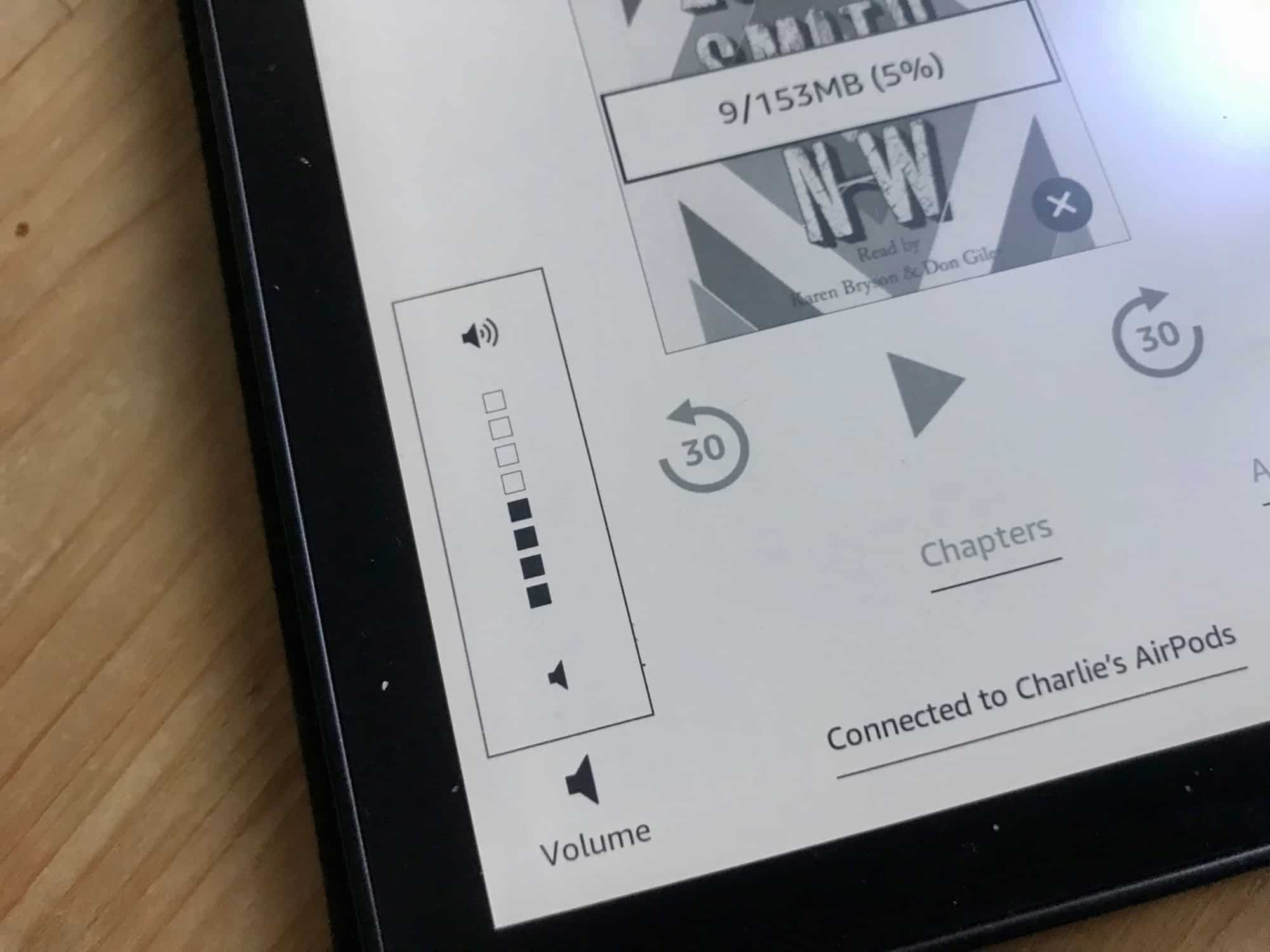 Kindle Oasis' volume control.