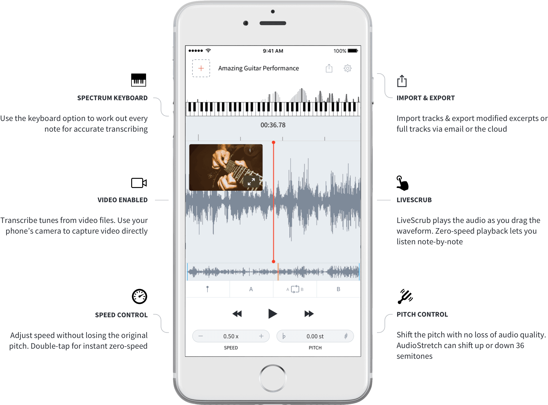 The AudioStretch audio transcription app works for videos, too.