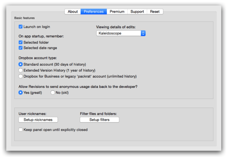 Revisions' preferences let you fine-tune the Mac app's behavior.