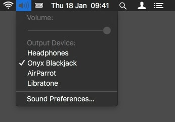 The familar volume menu item lets you select an output device for audio.
