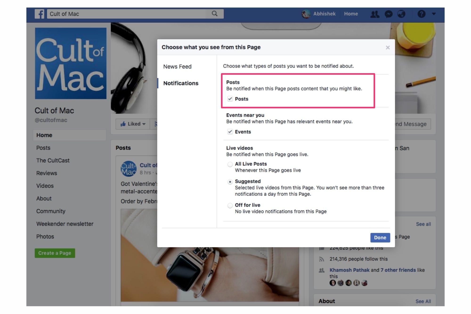 cult of Mac Facebook posts' notifications
