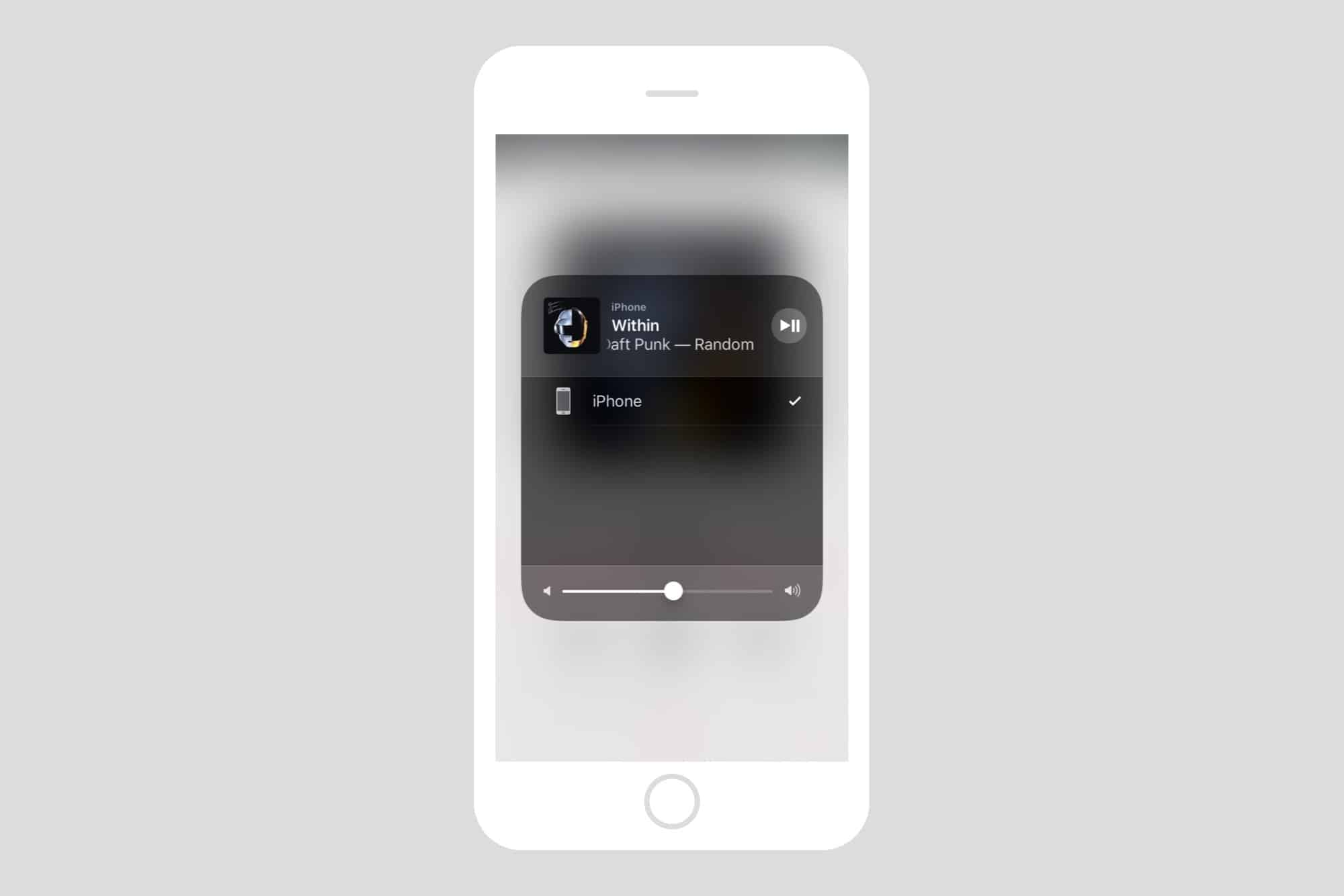 This is where the Homepod would appear in Control Center.