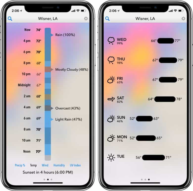 Dark Sky weather forecast app uses varying colors and a simple layout.