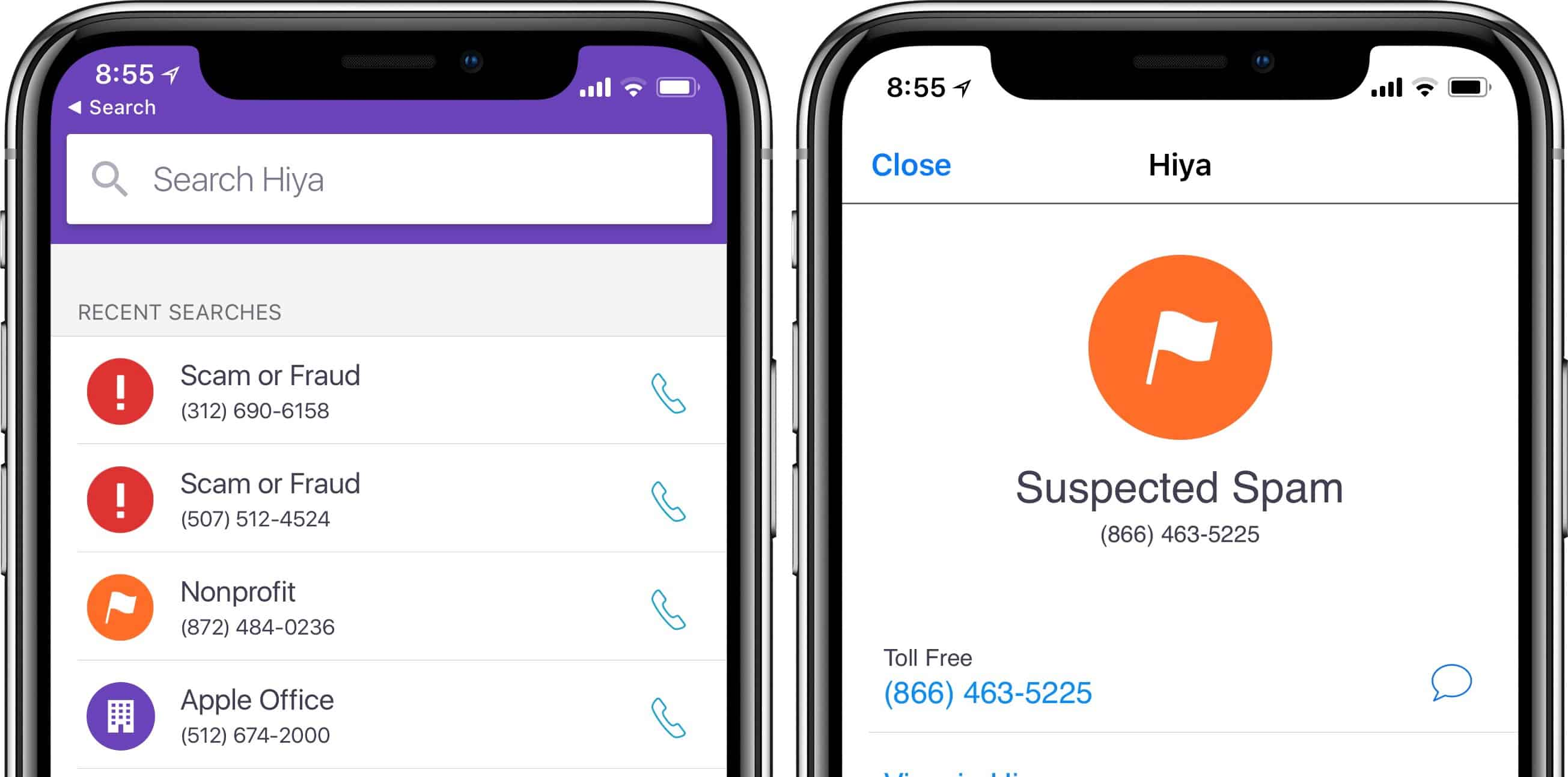 Hiya checks numbers for spoofing and spam