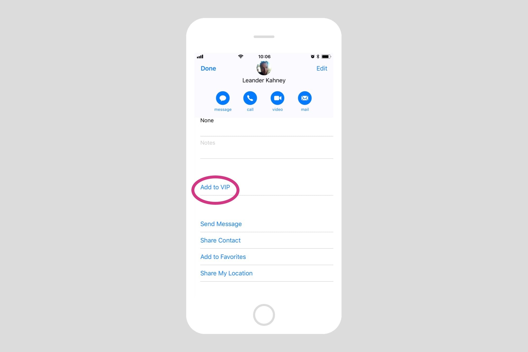 Adding contacts to the VIP list is easy.