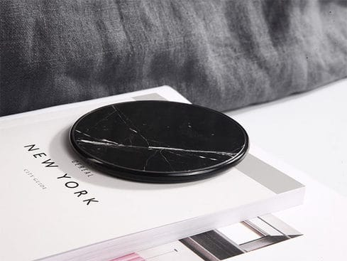 Add a touch of class to your desktop with this marble-topped Qi wireless charger.