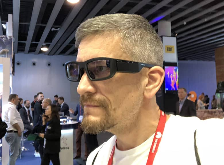 Trying out the Vuzix Blade augmented reality smart glasses at Mobile World Congress 2018.