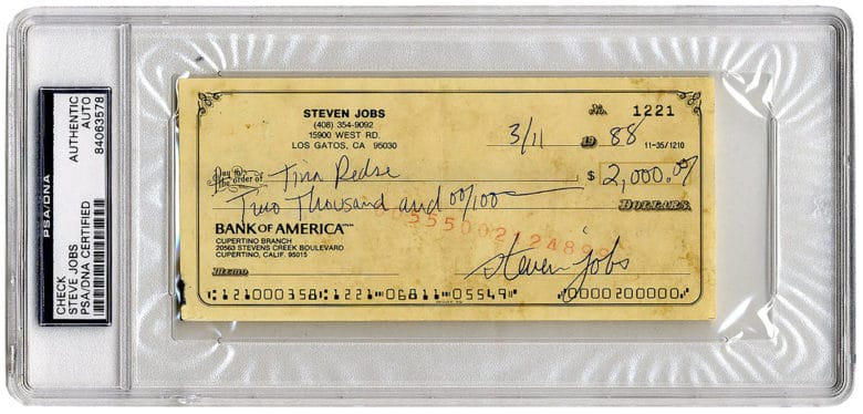 Signed Steve Jobs Check Will Go To Auction For $20,000 And Counting  Steve Jobs Resume