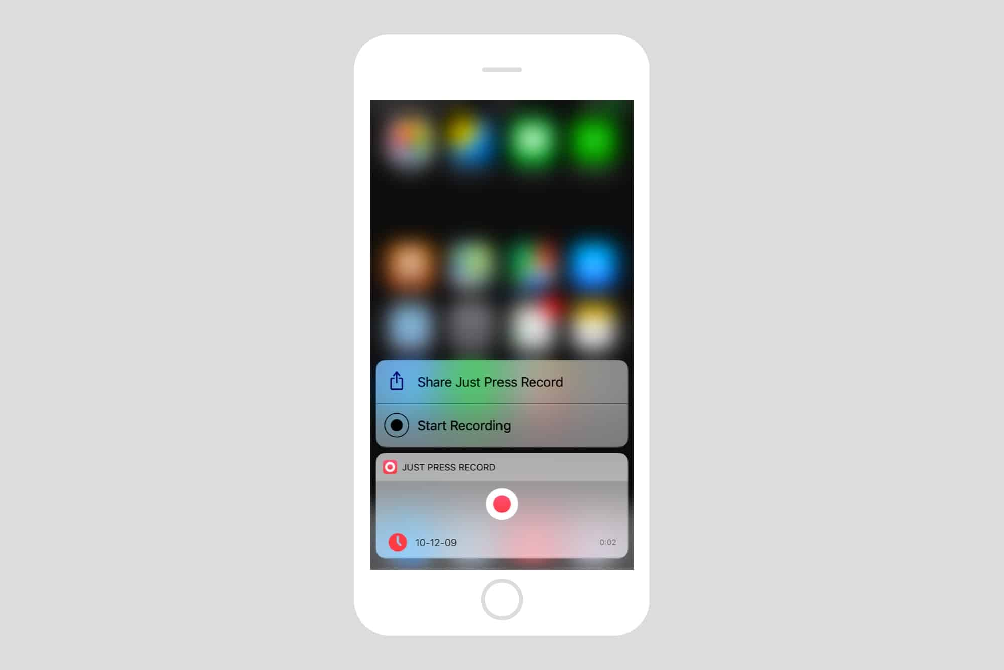 Just Press Record lets you record using 3D Touch.