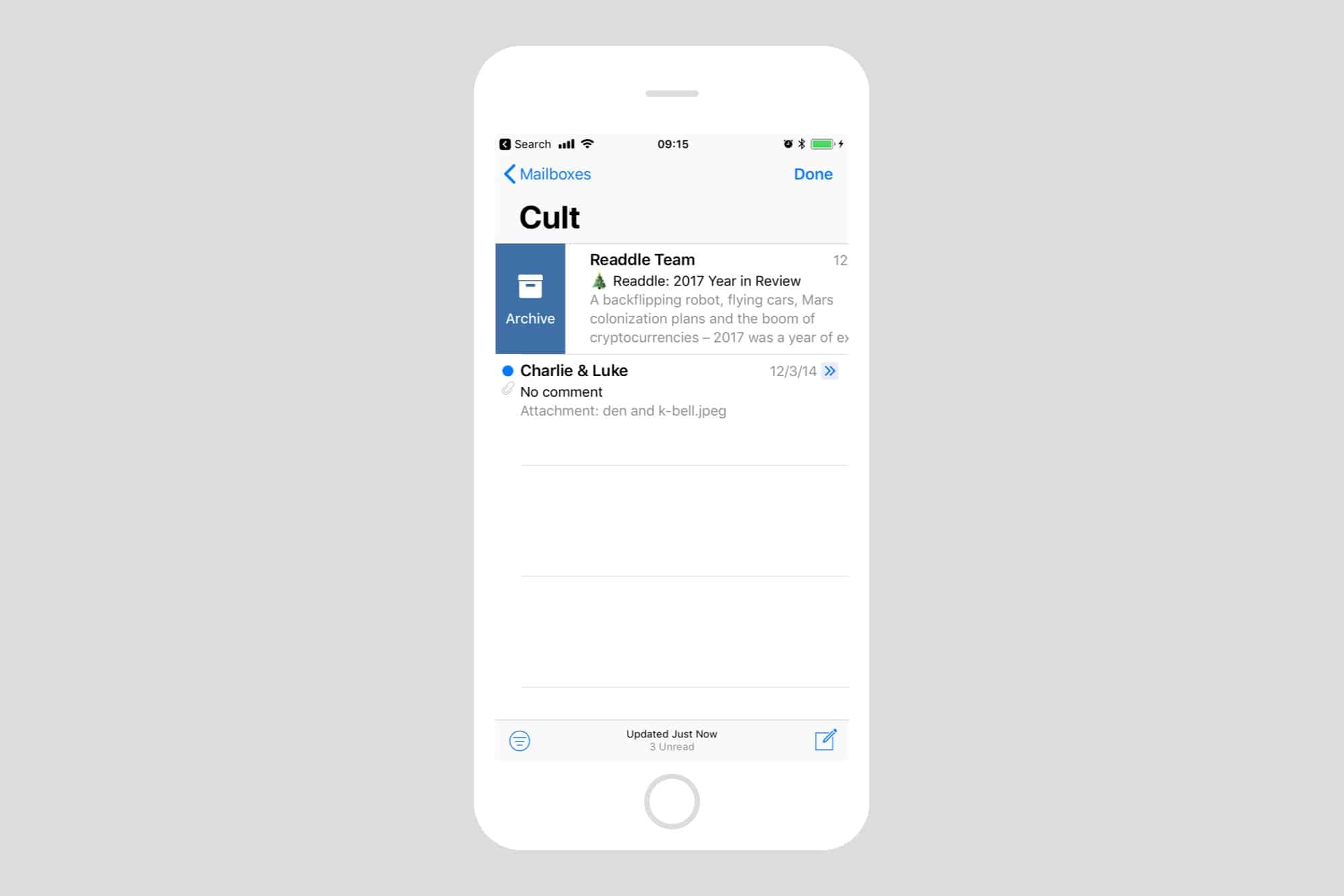Archive mail swipe gestures