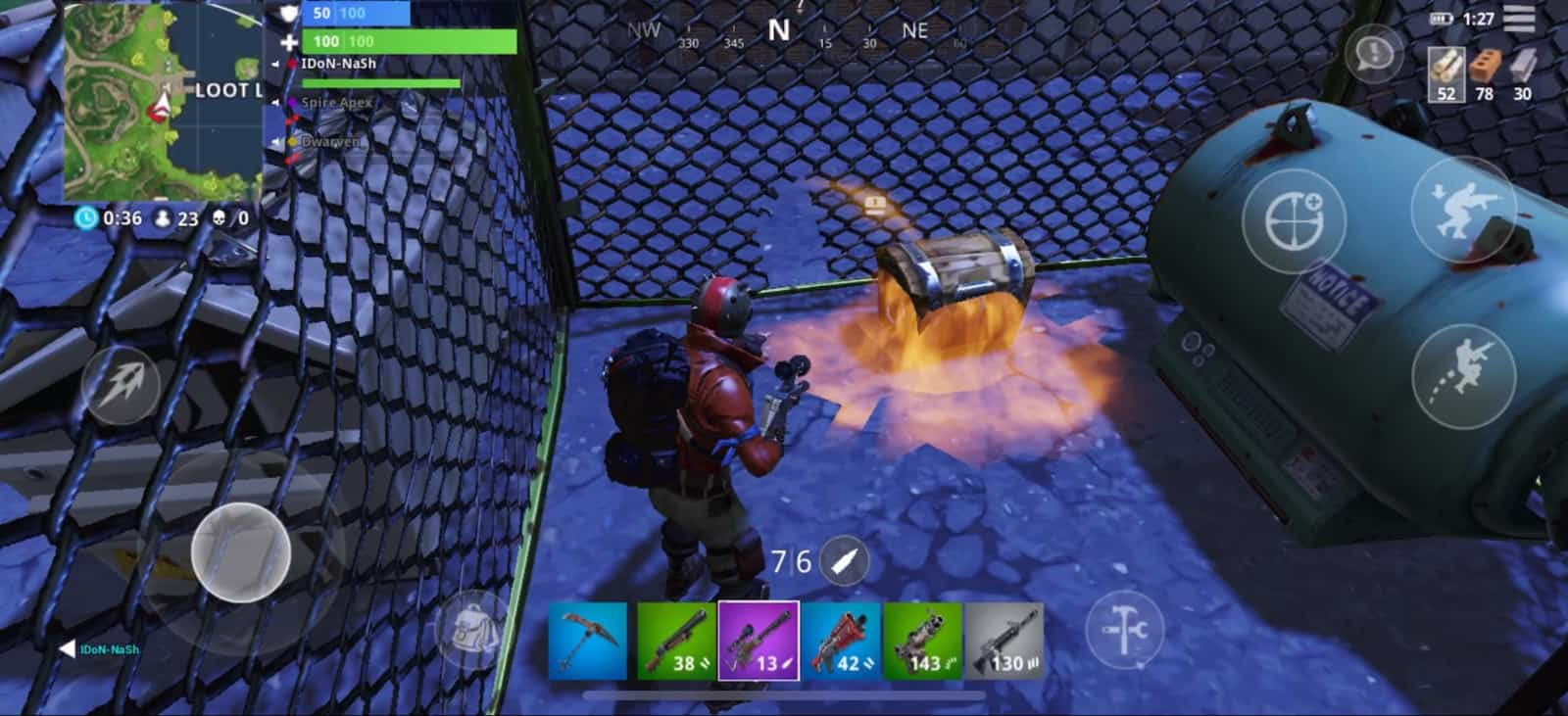 Fortnite mobile looting