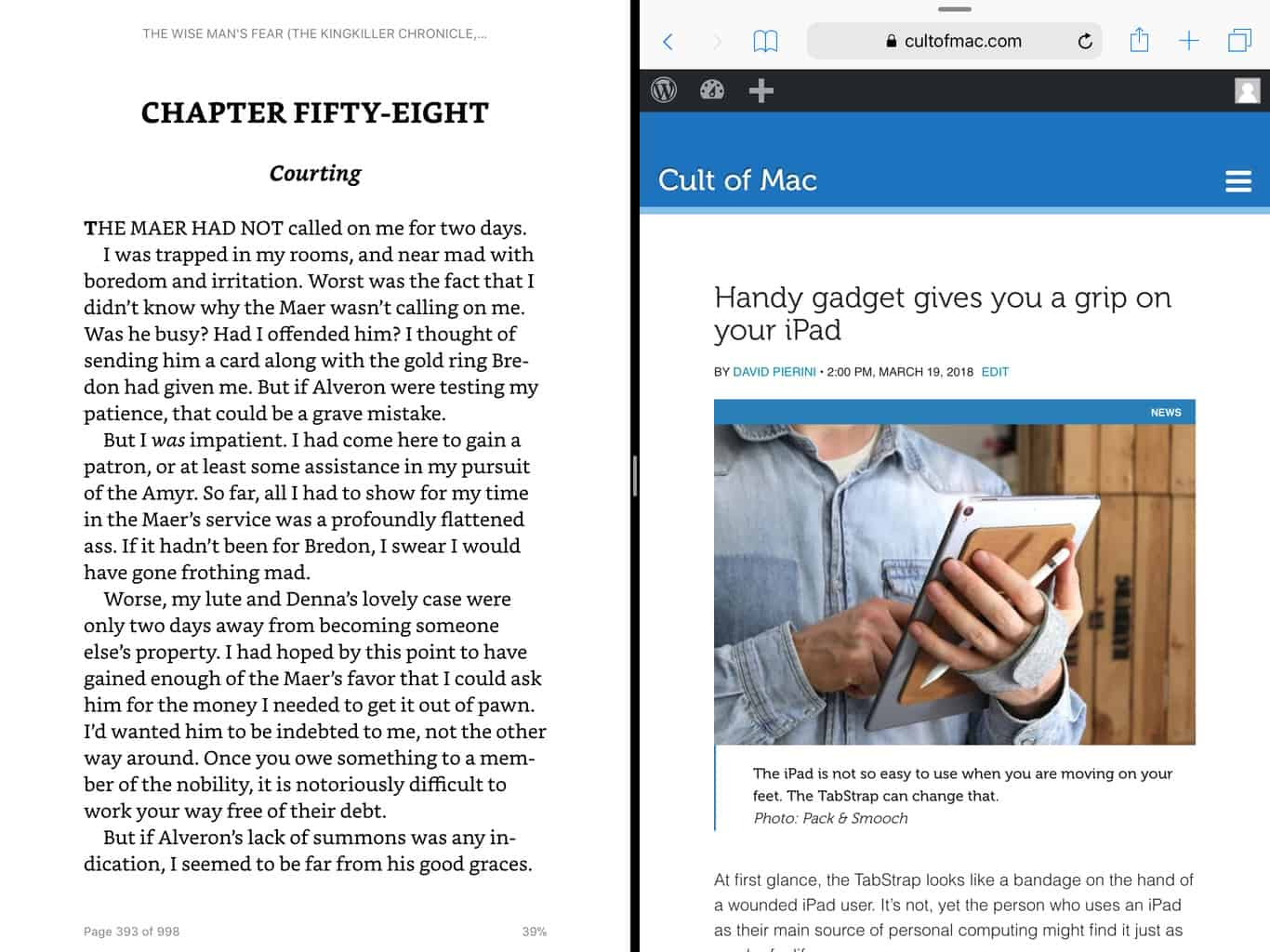 Amazon Kindle in Split View