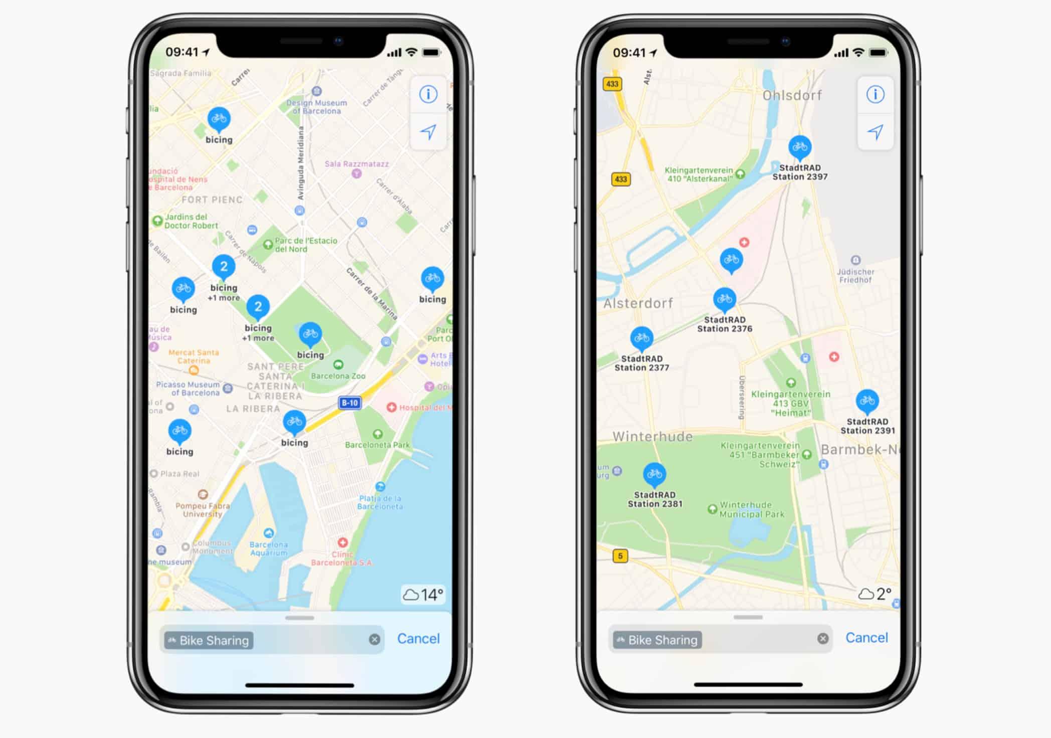 Apple Maps bike sharing