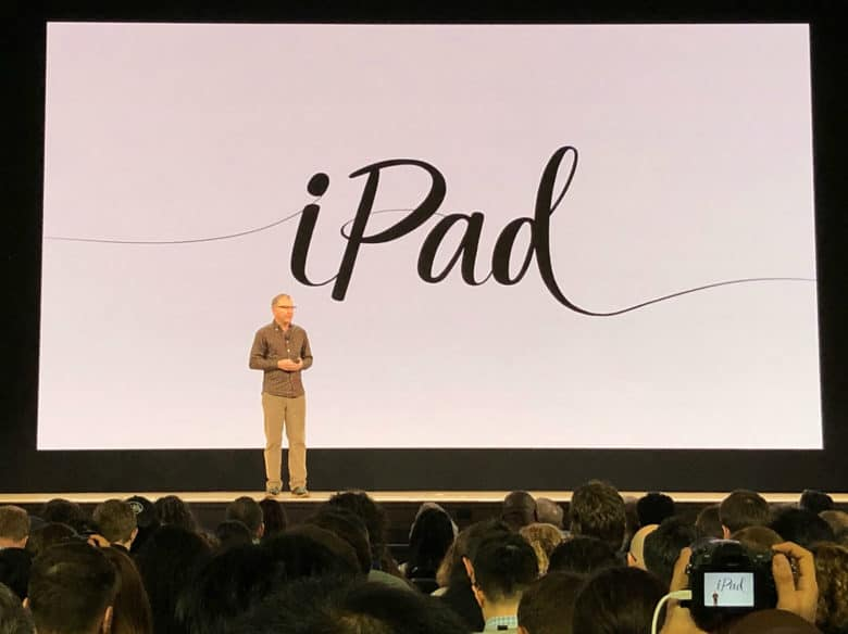 Apple VP Greg Joswiak gets ready to take the lid off the new iPad at Apple's education event in Chicago on May 27, 2018.