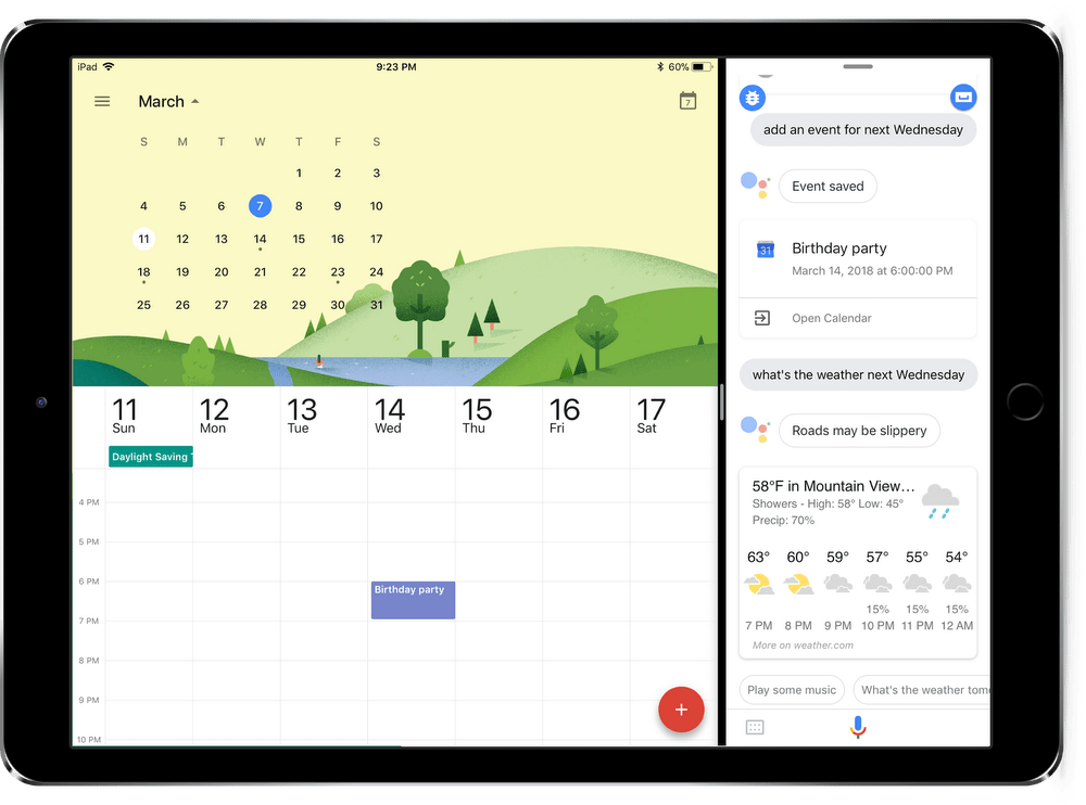 Google Assistant now runs on iPad, including side-by-side with Google Calendar.