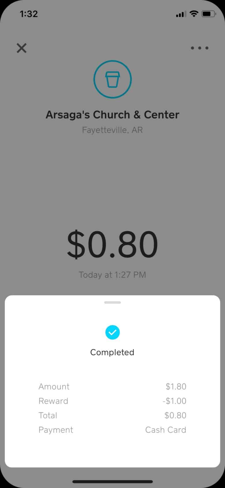 Just another $1 savings on a coffee with the Square Cash App.
