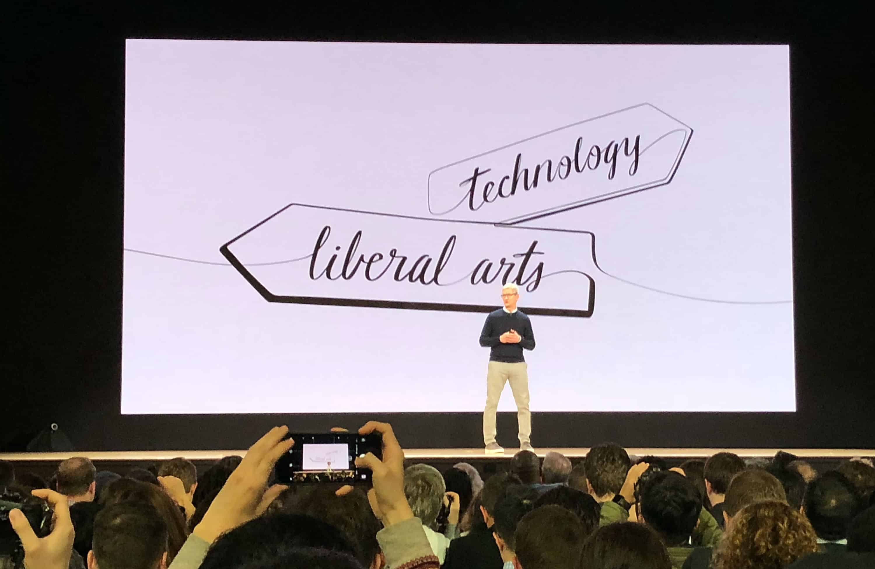 At Apple's education-oriented iPad event on March 27, 2018, Tim Cook positions the company squarely at the intersection of technology and the liberal arts.