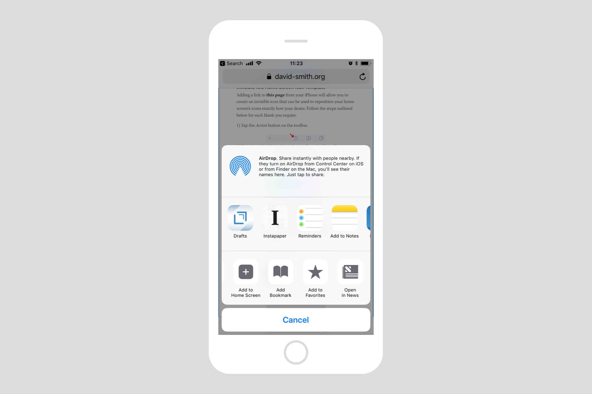 Use the built-in home-screen bookmark tool.