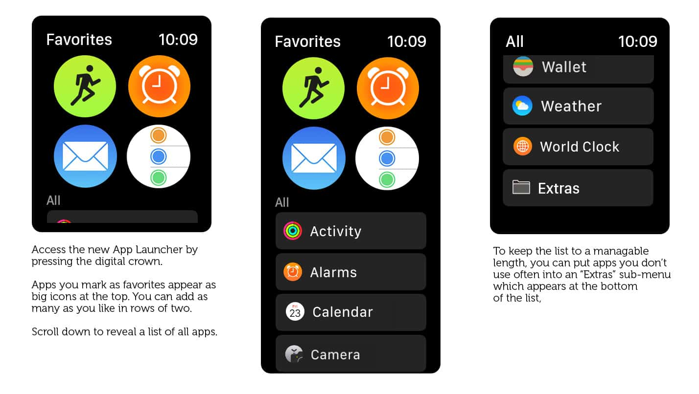 Mockup: Making the Apple Watch app launcher quicker and easier to use