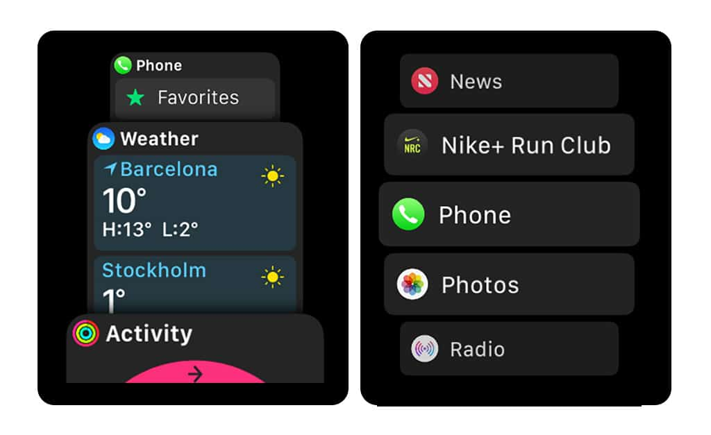 The app launcher list view and the dock look confusingly similar in watchOS 4