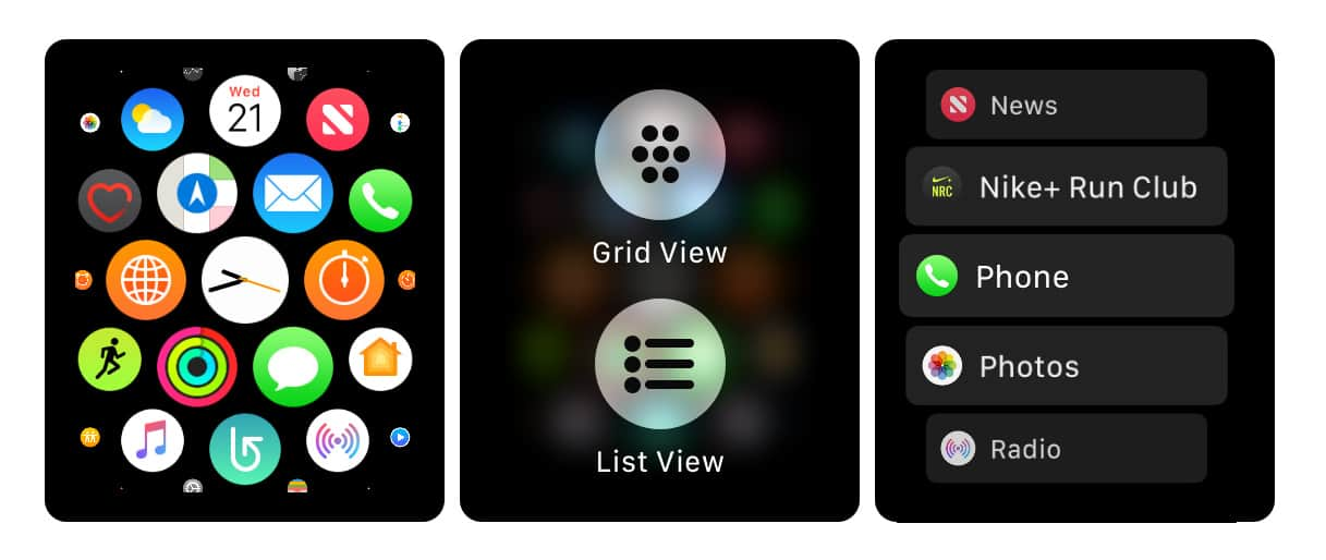 WatchOS offers two different views of the app launcher. Neither is perfect.