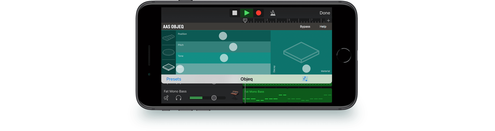 Here's Objeq running inside GarageBand on iPhone.