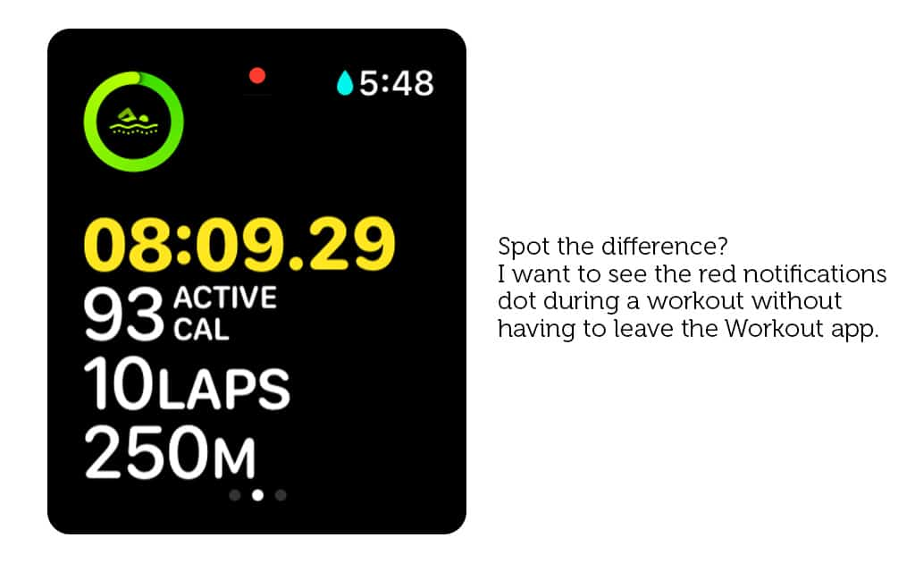 Mockup: You should definitely be able to see Apple Watch notifications in the Workout app (and everywhere else, for that matter).