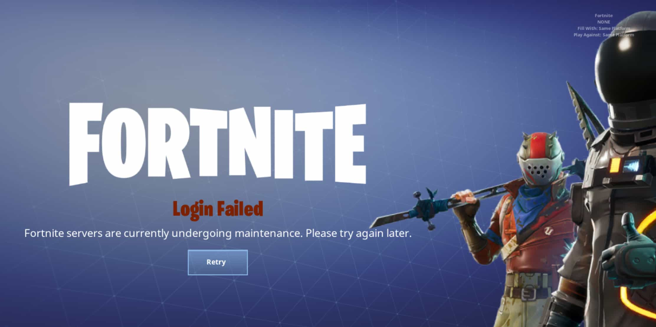 Fortnite mobile down