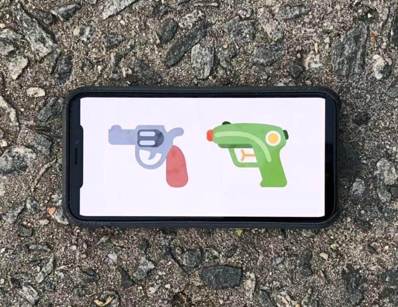 Pistol emoji going away