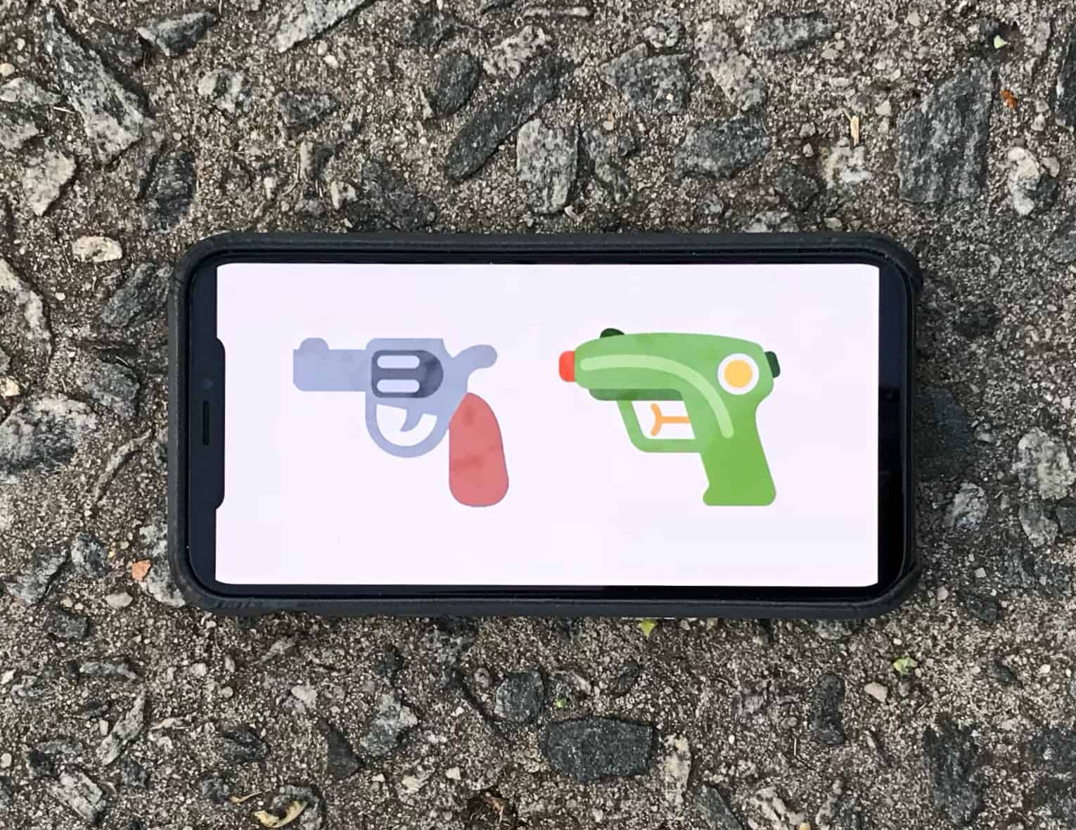 Pistol emoji going away