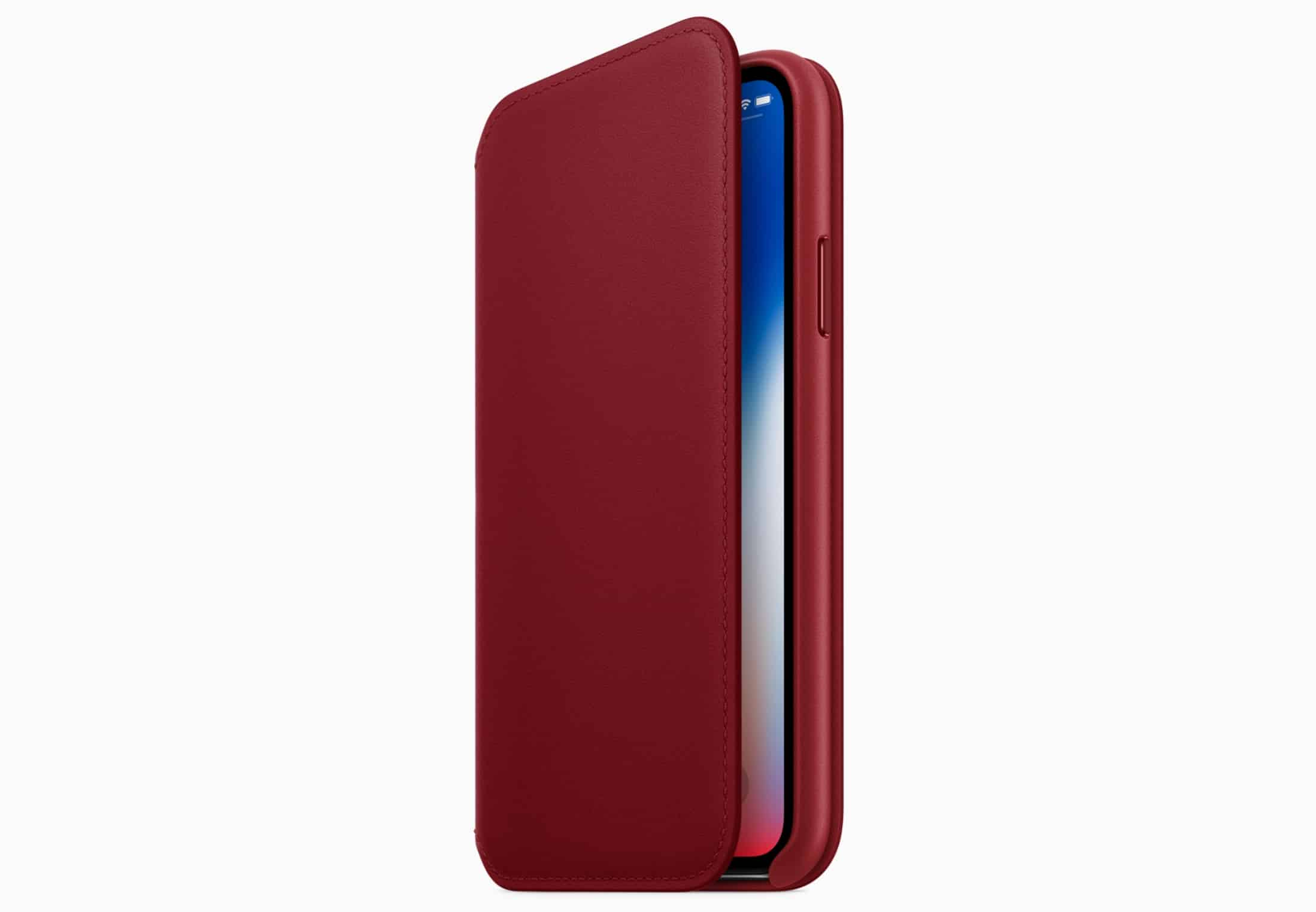 iPhone X RED leather folio