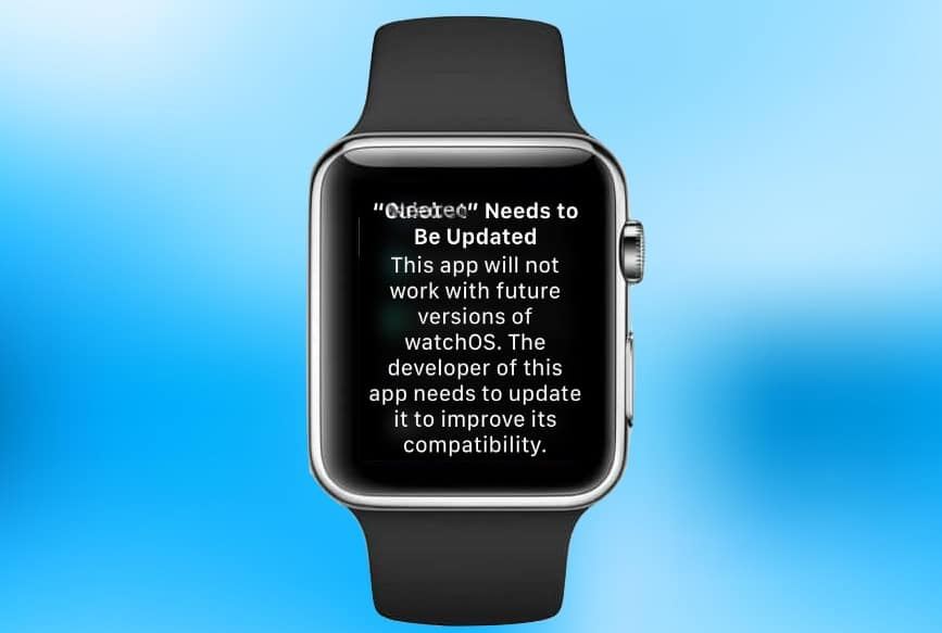 watchOS 1 app warning
