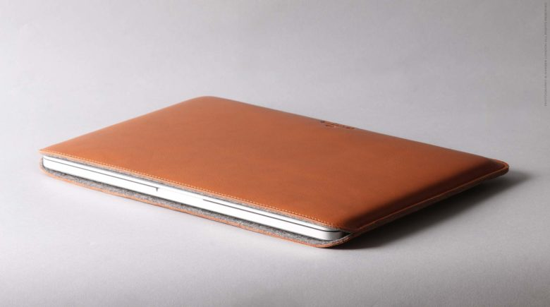 The tanned leather surface of Harber London's MacBook cases age and mature, unlike your laptop.