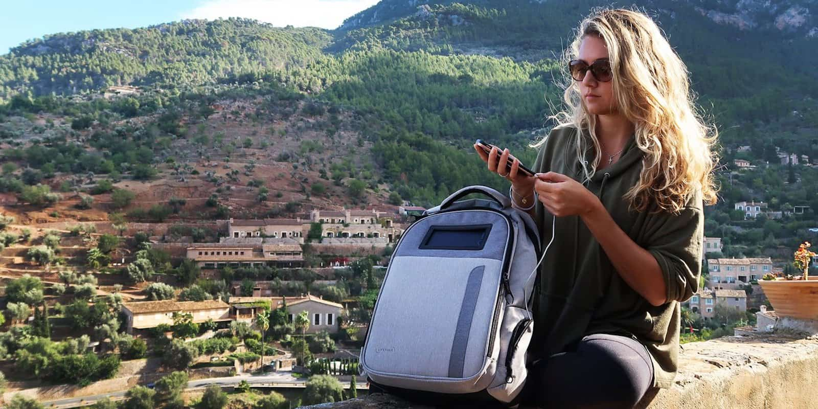 This backpack has pockets for all your devices, along with other goodies like USB charging and a solar cell.