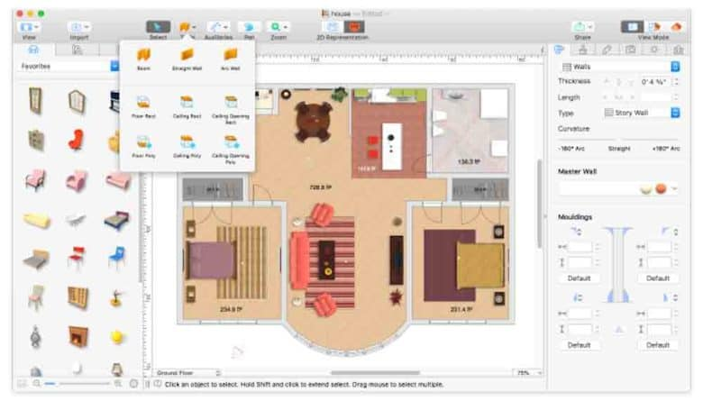 Easily create 2D and 3D previews of any home or office redecorating plans.