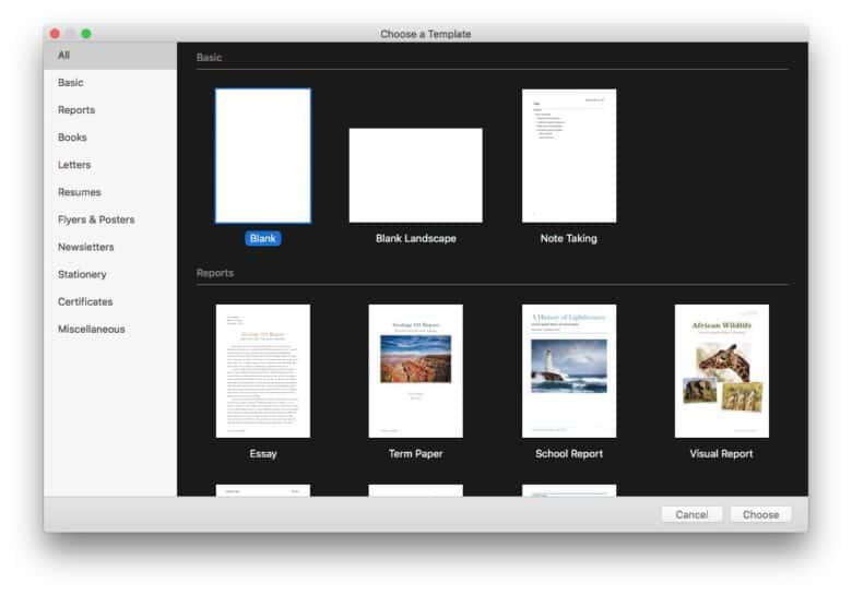 We'll start with a blank document, but using a Pages template is even easier.