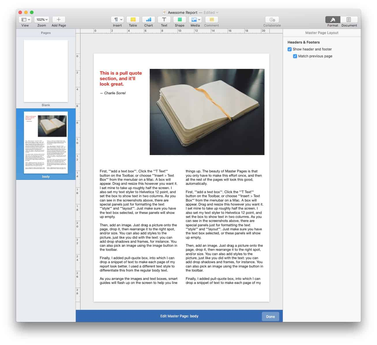 Using Master Page template in Pages 4.0.
