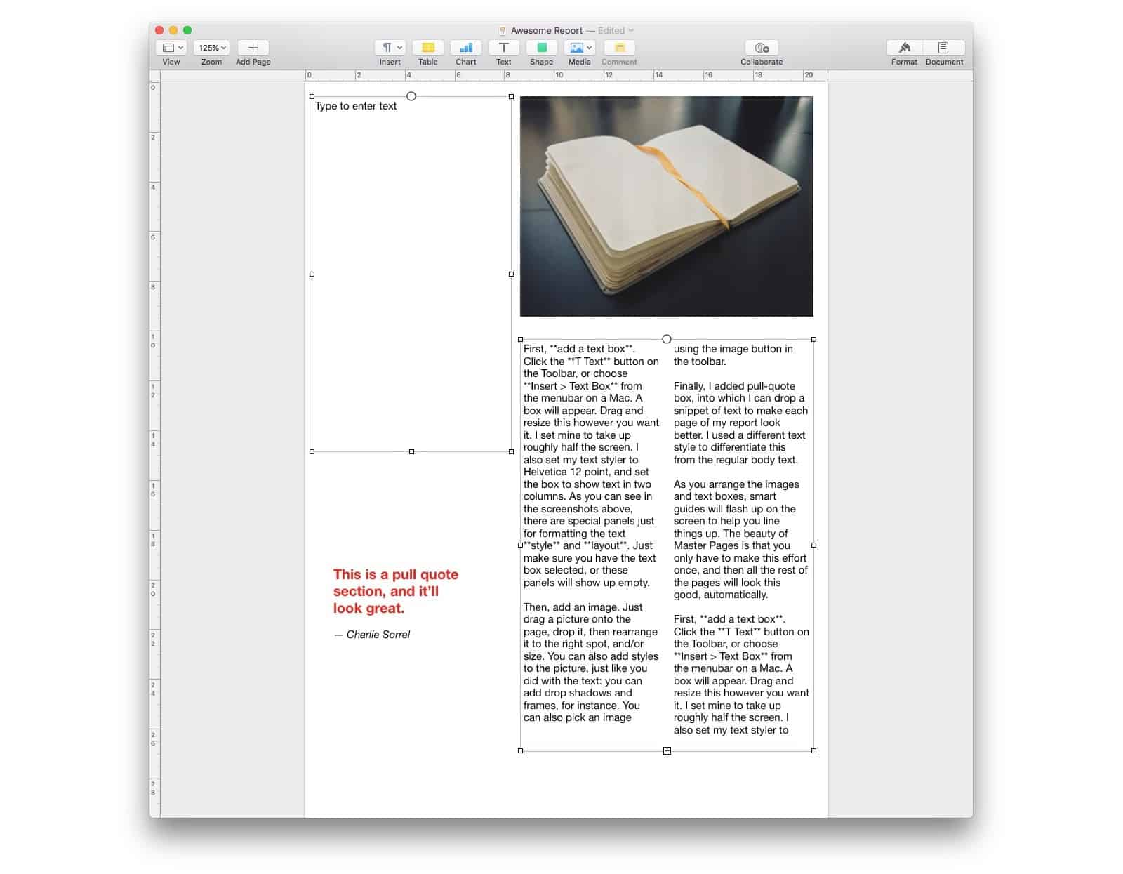 Here you see two text boxes in Pages for Mac, ready to be linked.