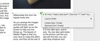 Click the colored circle to work with text threads in Pages on Mac.