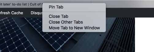 Right click and choose 'Pin Tab.'