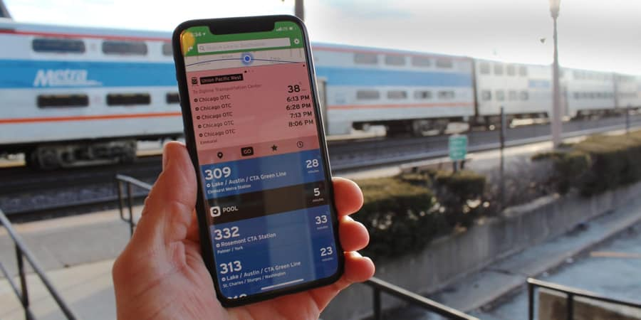Transit for iPhone shows upcoming times