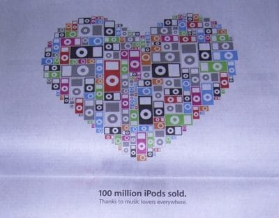 Apple marked 100 million iPods sold with a full-page newspaper ad