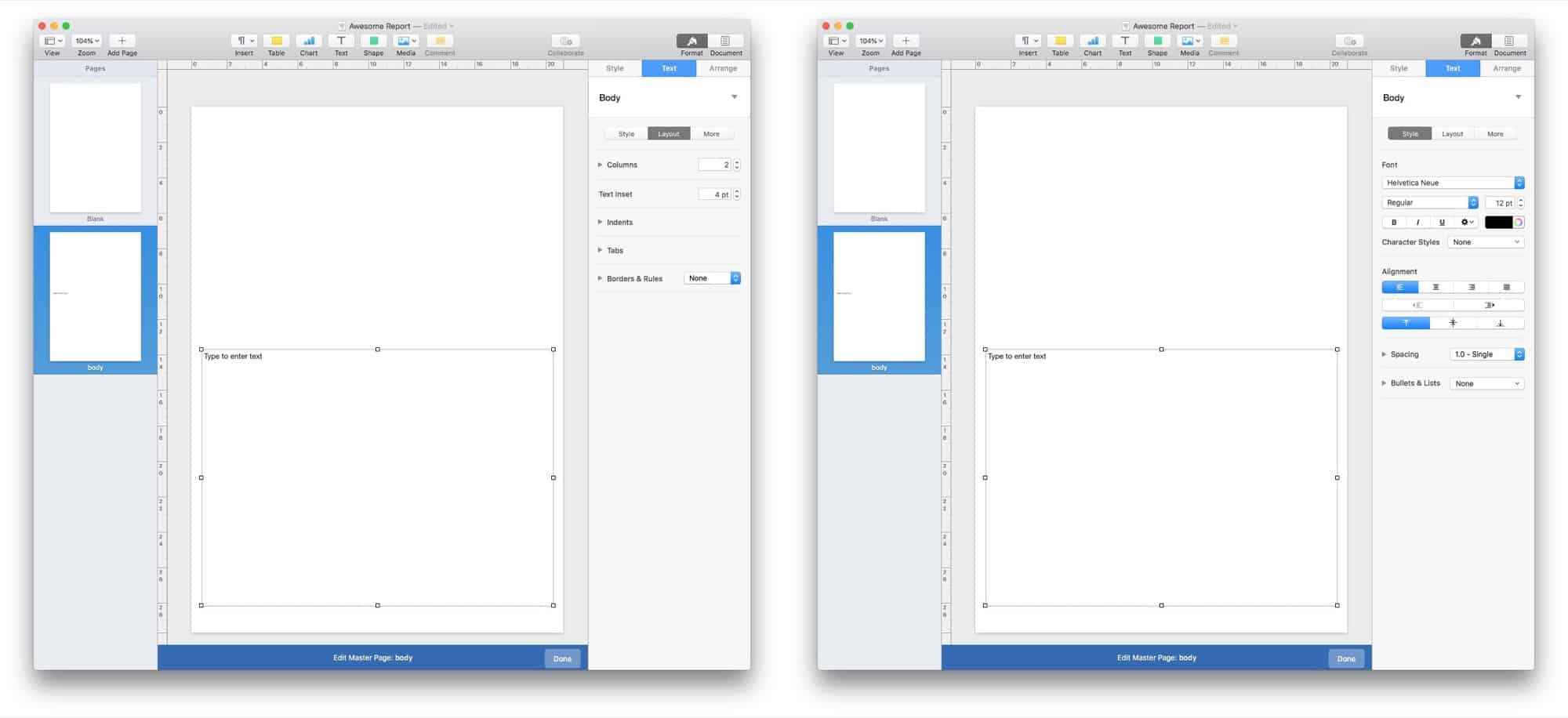 Add columns and set the text size here using Master Pages templates in Pages.